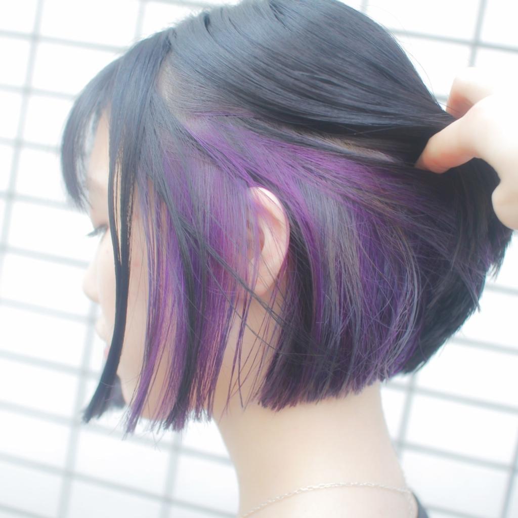 ヘアスタイル ヘアカラー インナーカラー 紫 シルバー パープル