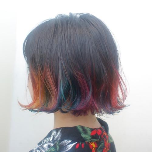ヘアスタイル ヘアカラー 裾カラー カラフル