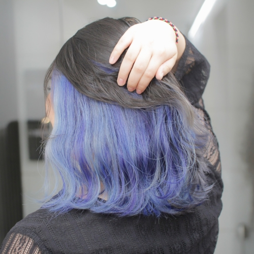 ヘアスタイル ヘアカラー インナーカラー 黒髪 青 紫 ネイビー ブラック ブルー