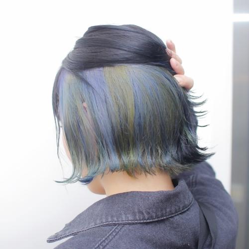 ヘアスタイル ヘアカラー インナーカラー 青 ネイビー ブルー