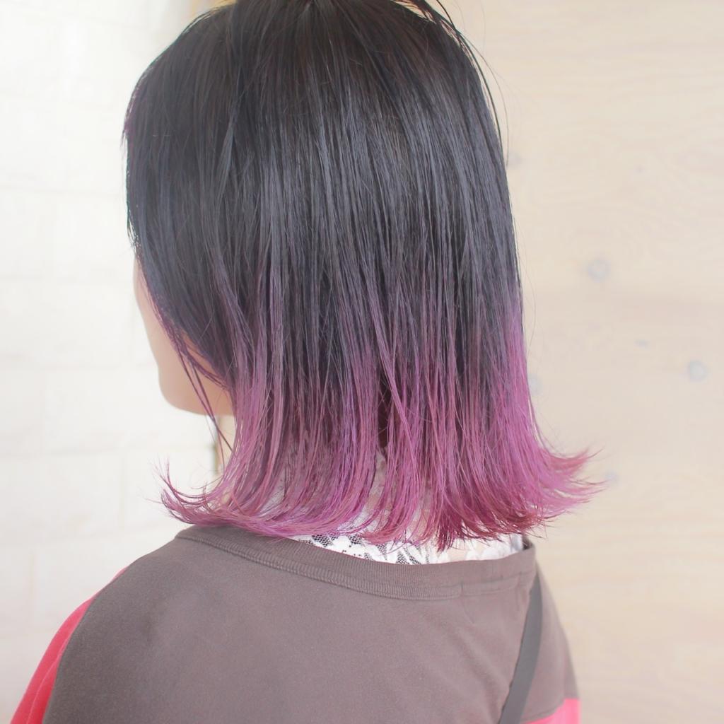 ヘアスタイル ヘアカラー グラデーションカラー 紫 パープル